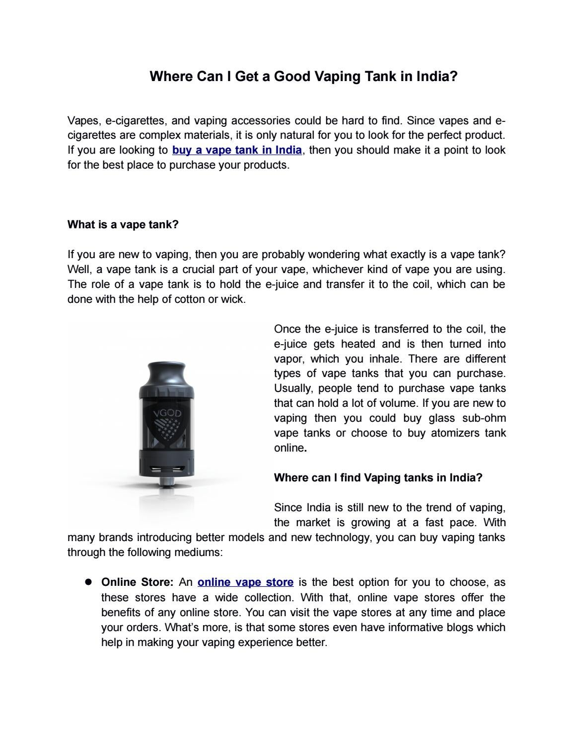 Where Can I Get a Good Vaping Tank in India? by Faheem