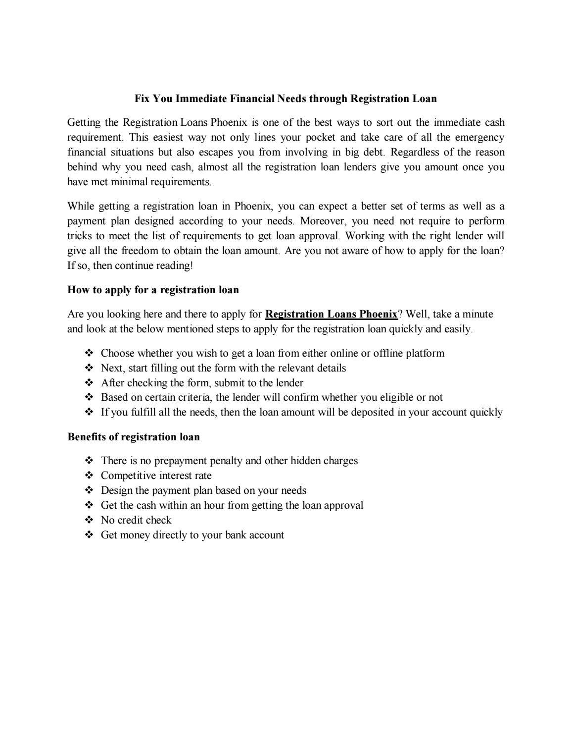 Fix You Immediate Financial Needs through Registration Loan