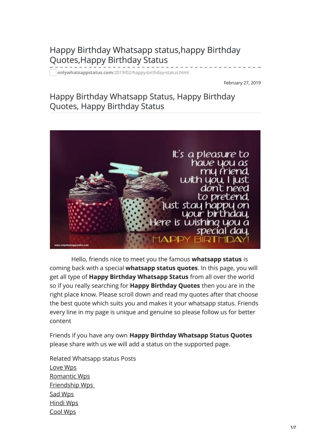 Happy Birthday Whatsapp Status Happy Birthday Quotes Happy