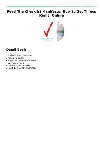 Checklist Manifesto Pdf