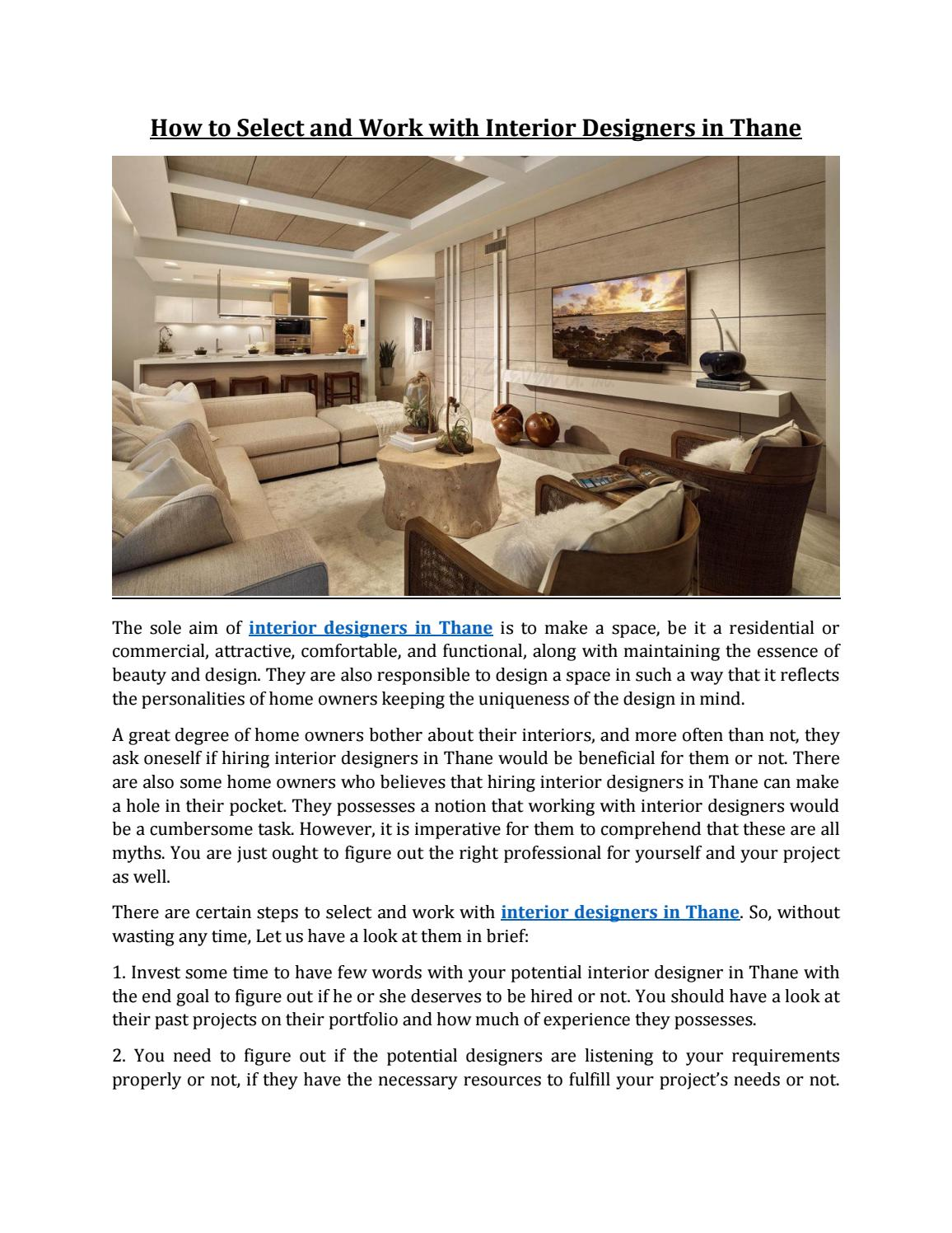 How To Select And Work With Interior Designers In Thane By Home2decor Issuu