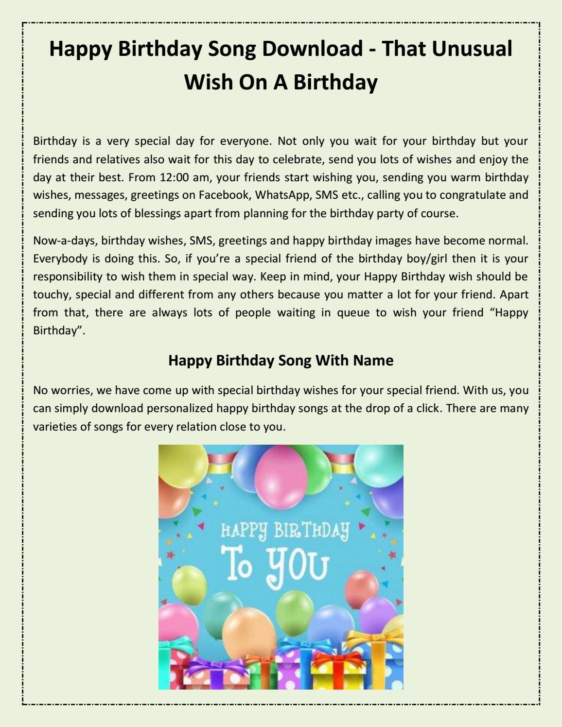 Birthday Wishes For Friend Song Download Birhday song Listen