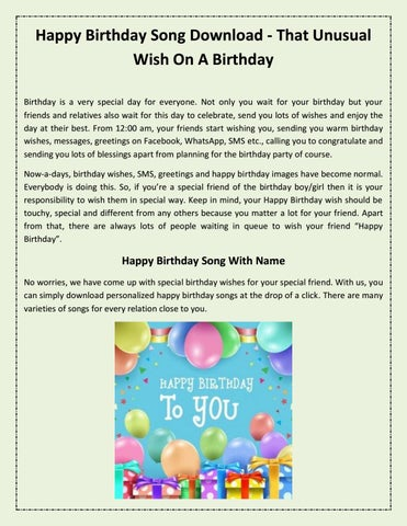 Happy Birthday Song Download - That Unusual Wish On A Birthday