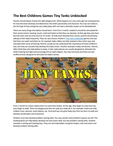 Play Best Tiny Tanks Unblocked Game by stickrpg2gameonline - issuu
