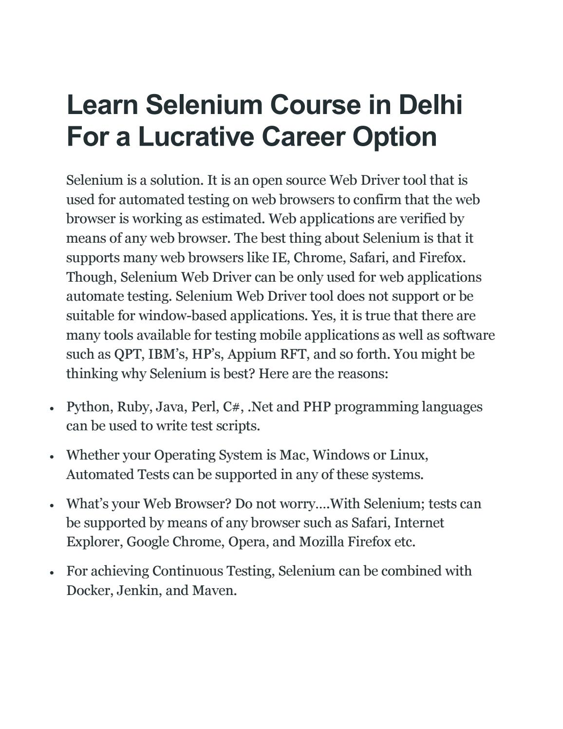 Learn Selenium Course in Delhi NCR For a Lucrative Career