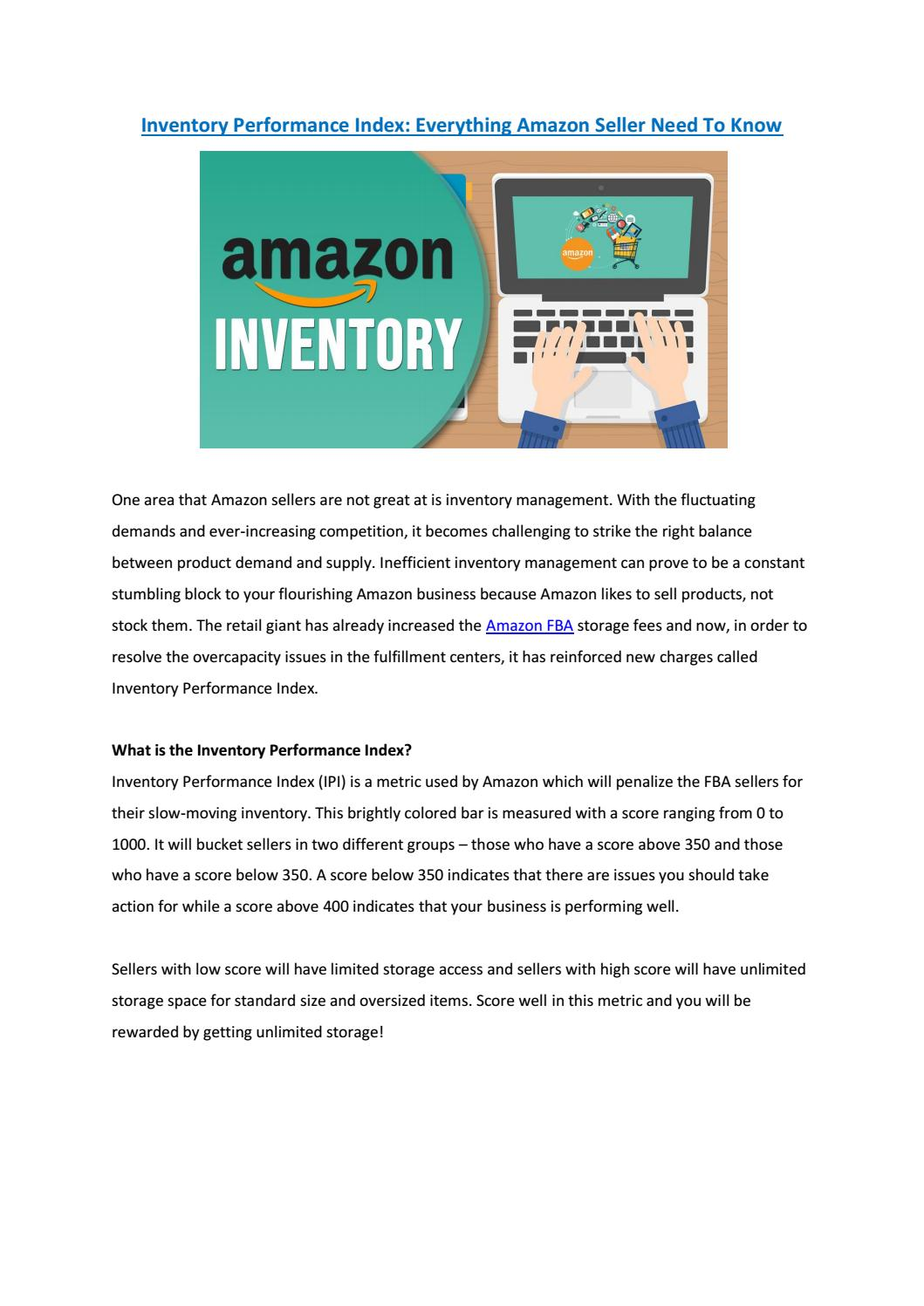 new concept 7cfb8 1d48e Inventory Performance Index: Everything Amazon Sellers Need ...
