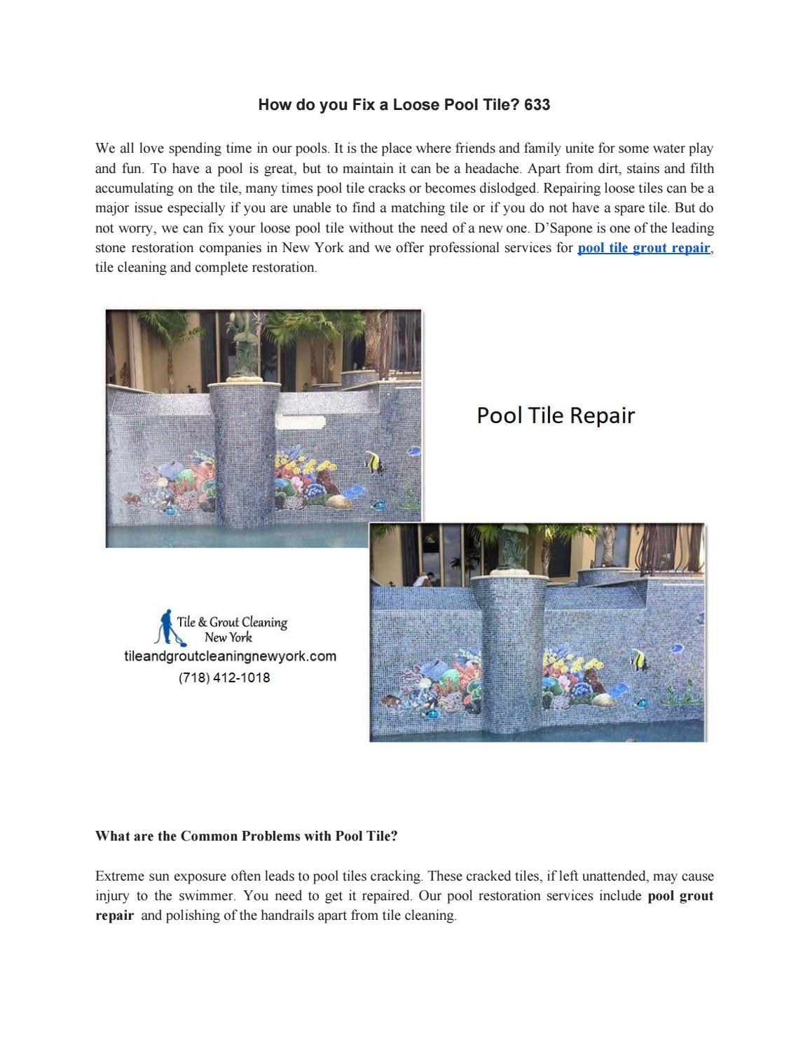 How do you Fix a Loose Pool Tile? by D\'Sapone Restorations ...