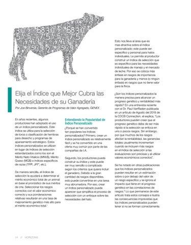 Page 14 of Elija el Índice que Mejor Cubra las Necesidades de su Ganadería