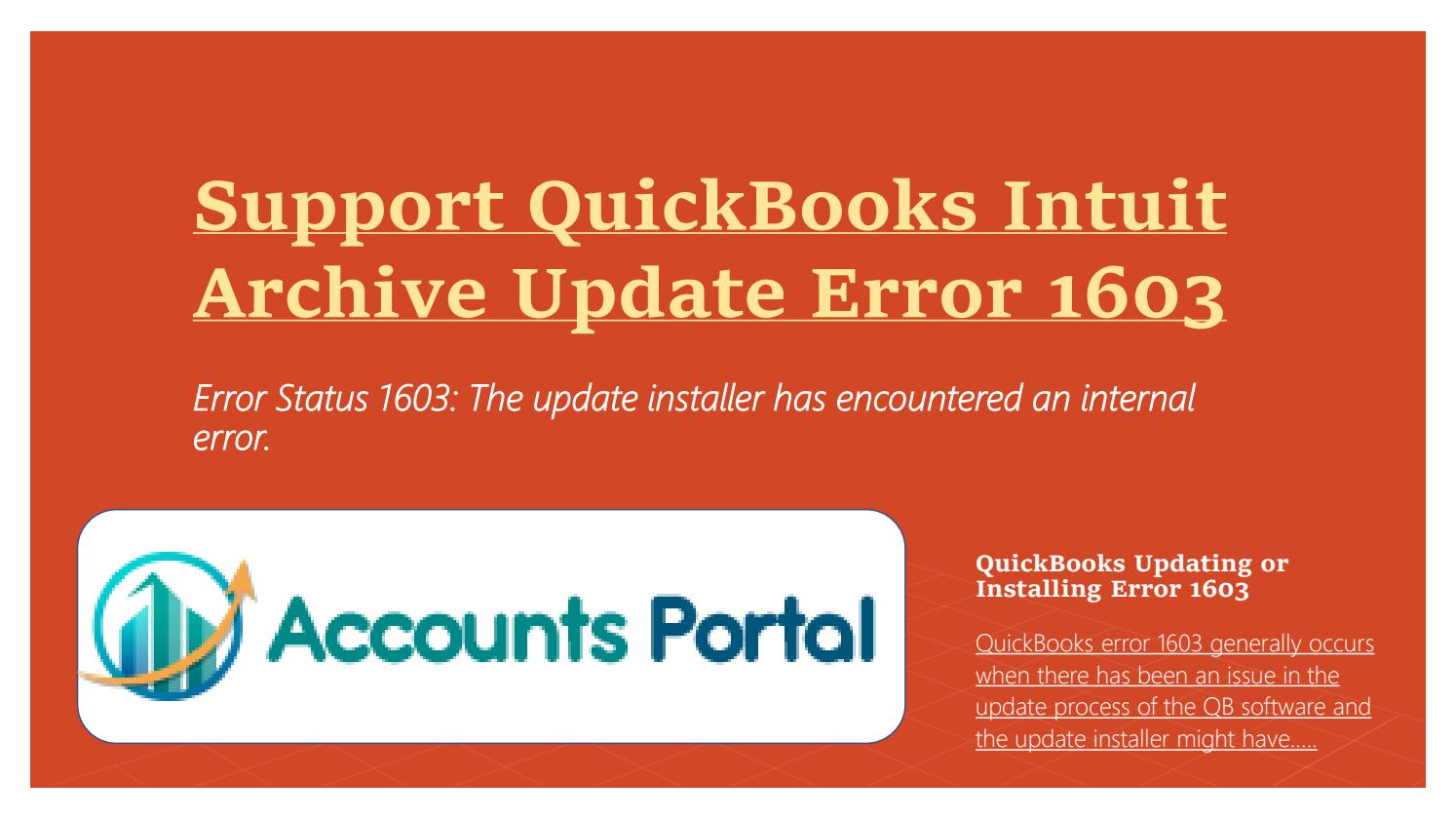 Support QuickBooks Intuit Archive Update Error 1603 by