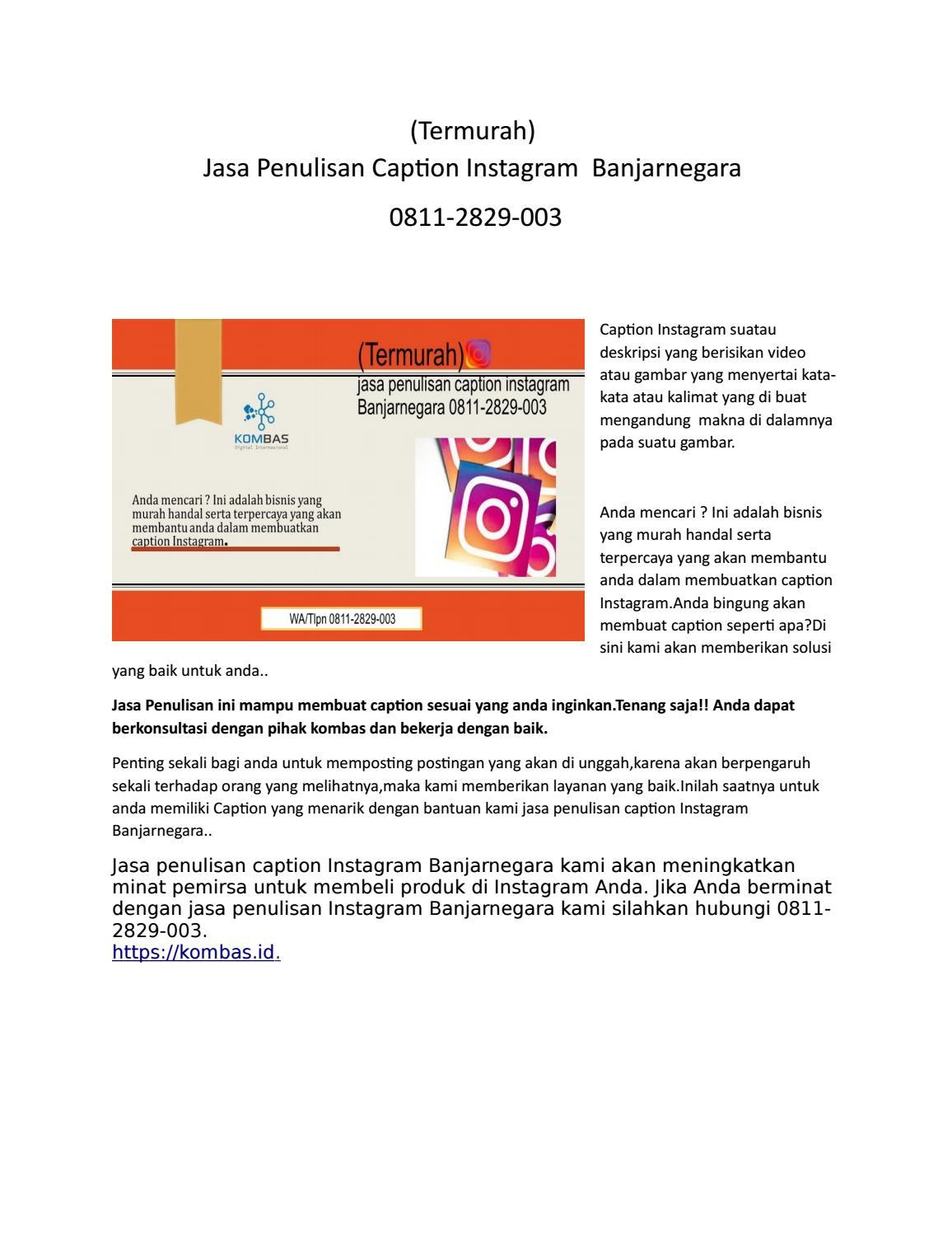 Termurah Jasa Penulisan Caption Instagram Banjarnegara