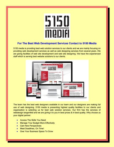 For The Best Web Development Services Contact to 5150 Media