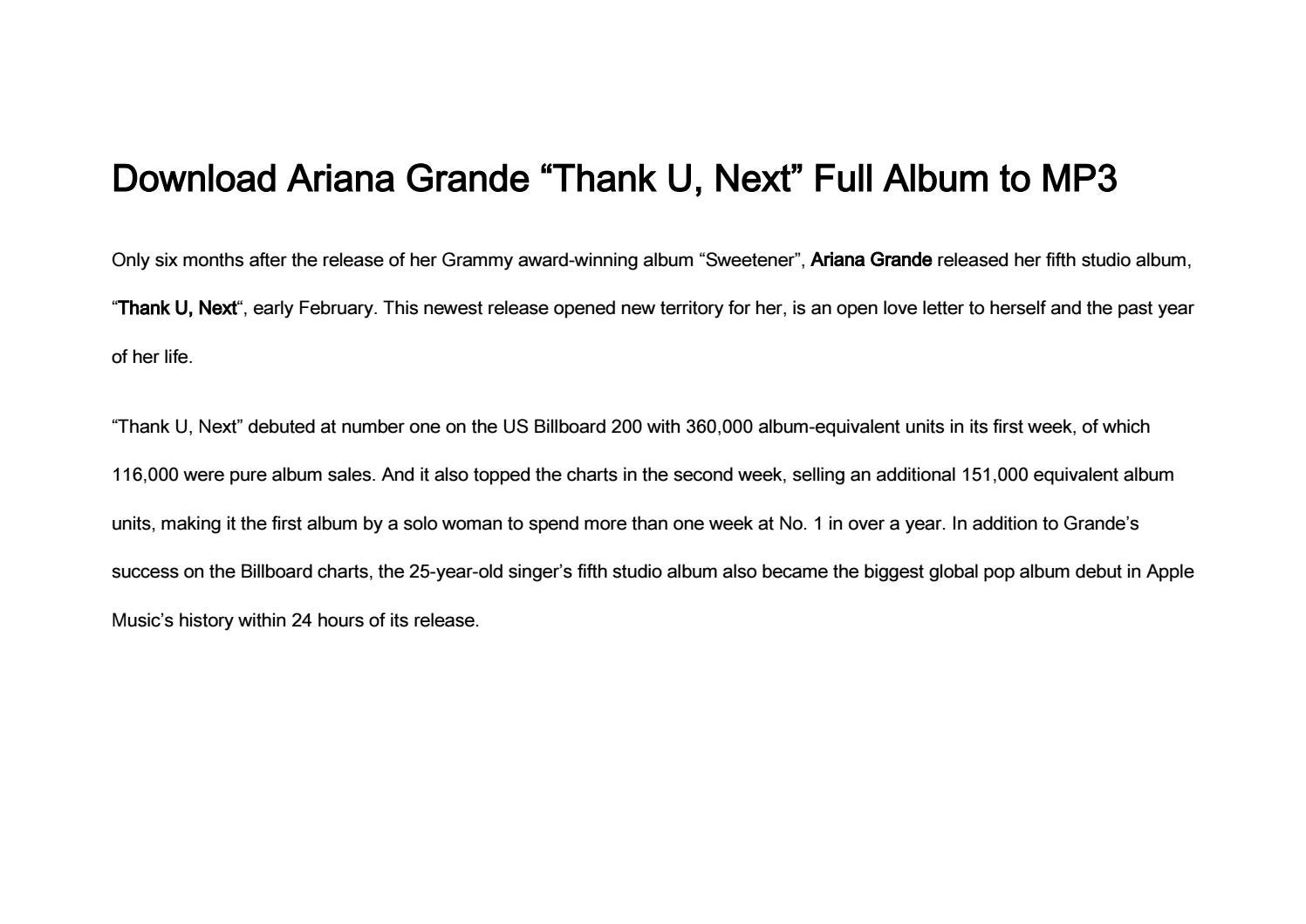 """How to Download Ariana Grande """"Thank U, Next"""" Full Album to"""
