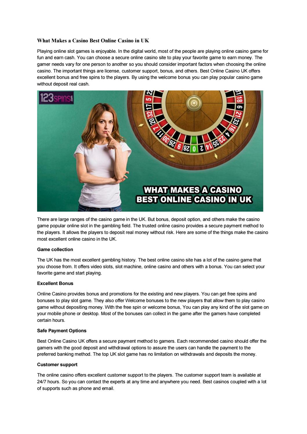 What Makes A Casino Best Online Casino In Uk By 123 Spins Issuu