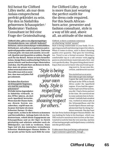 Page 67 of Face to Face with Clifford Lilley - SWISS Magazine March 2019