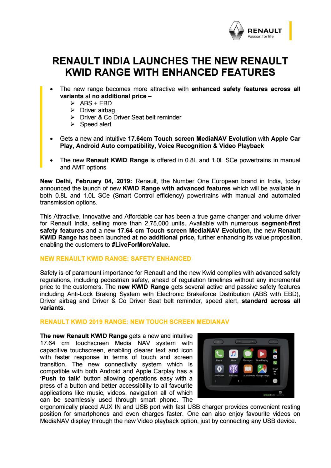Renault India Launches the New Renault KWID Range with