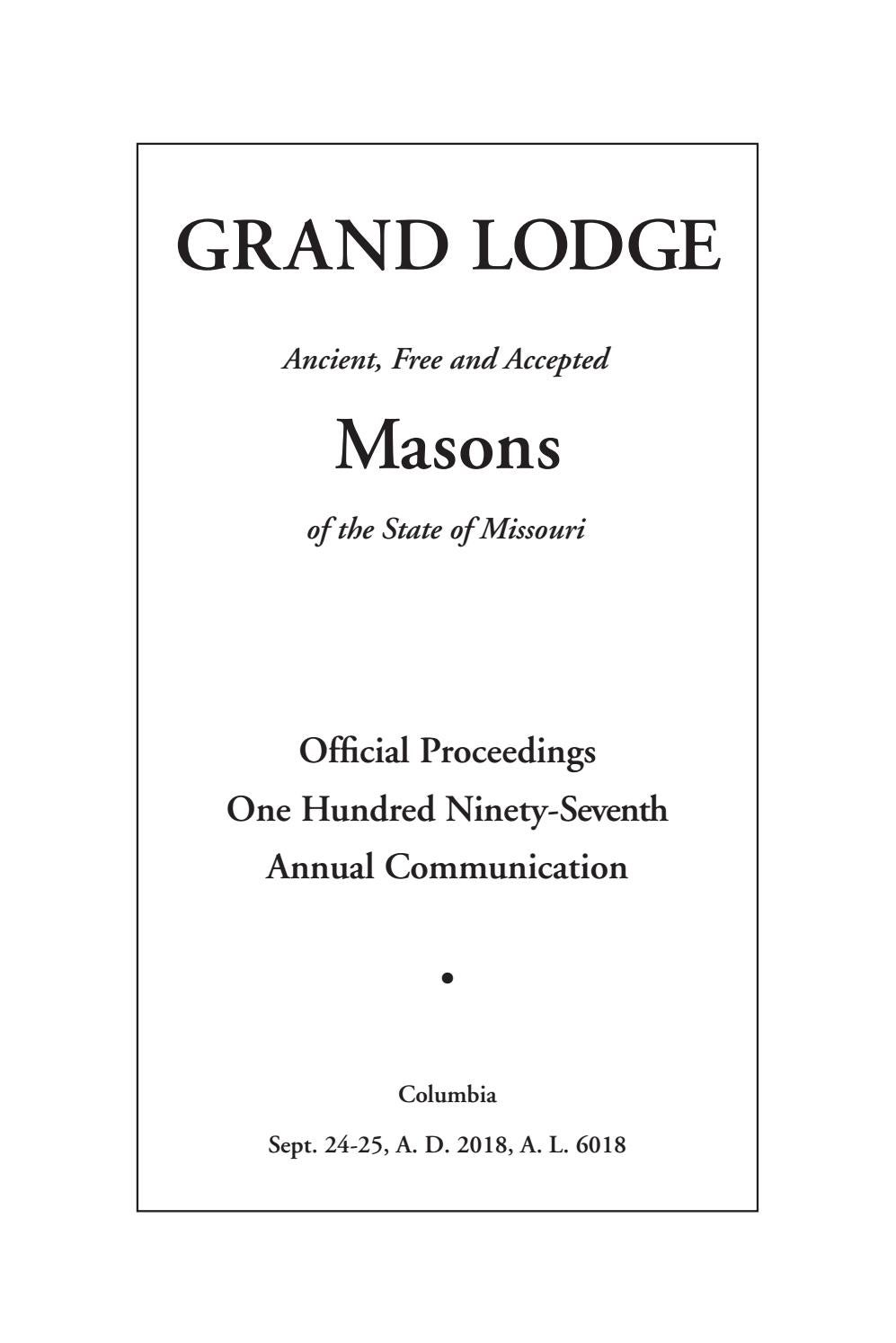 Duke Academic Calendar 2020 19.Official Proceedings Grand Lodge Mo Annual Communication 2018 By