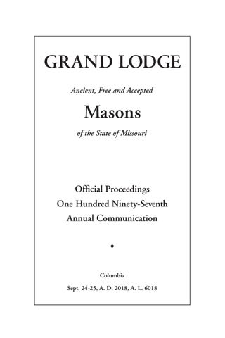 d4327a42db Official Proceedings - Grand Lodge MO Annual Communication 2018 by ...