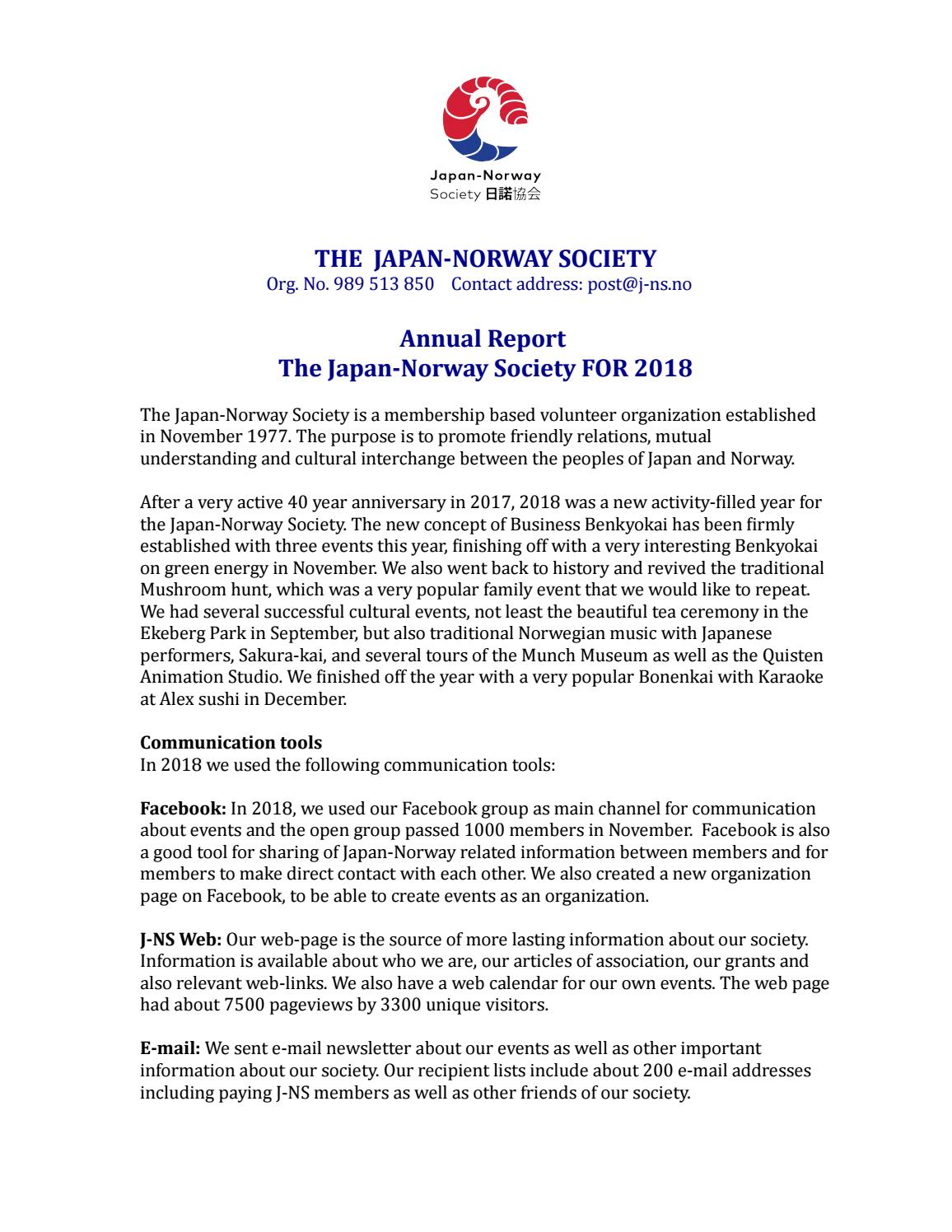 Annual Report 2018 The Japan Norway Society By The Japan Norway