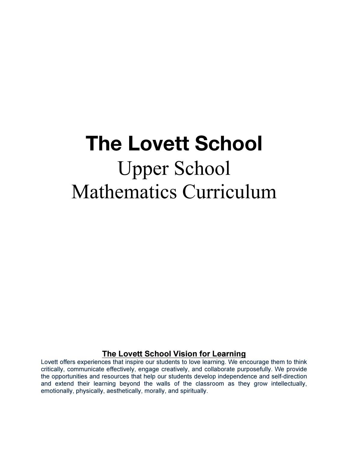 Upper School Curriculum: Math by The Lovett School - issuu