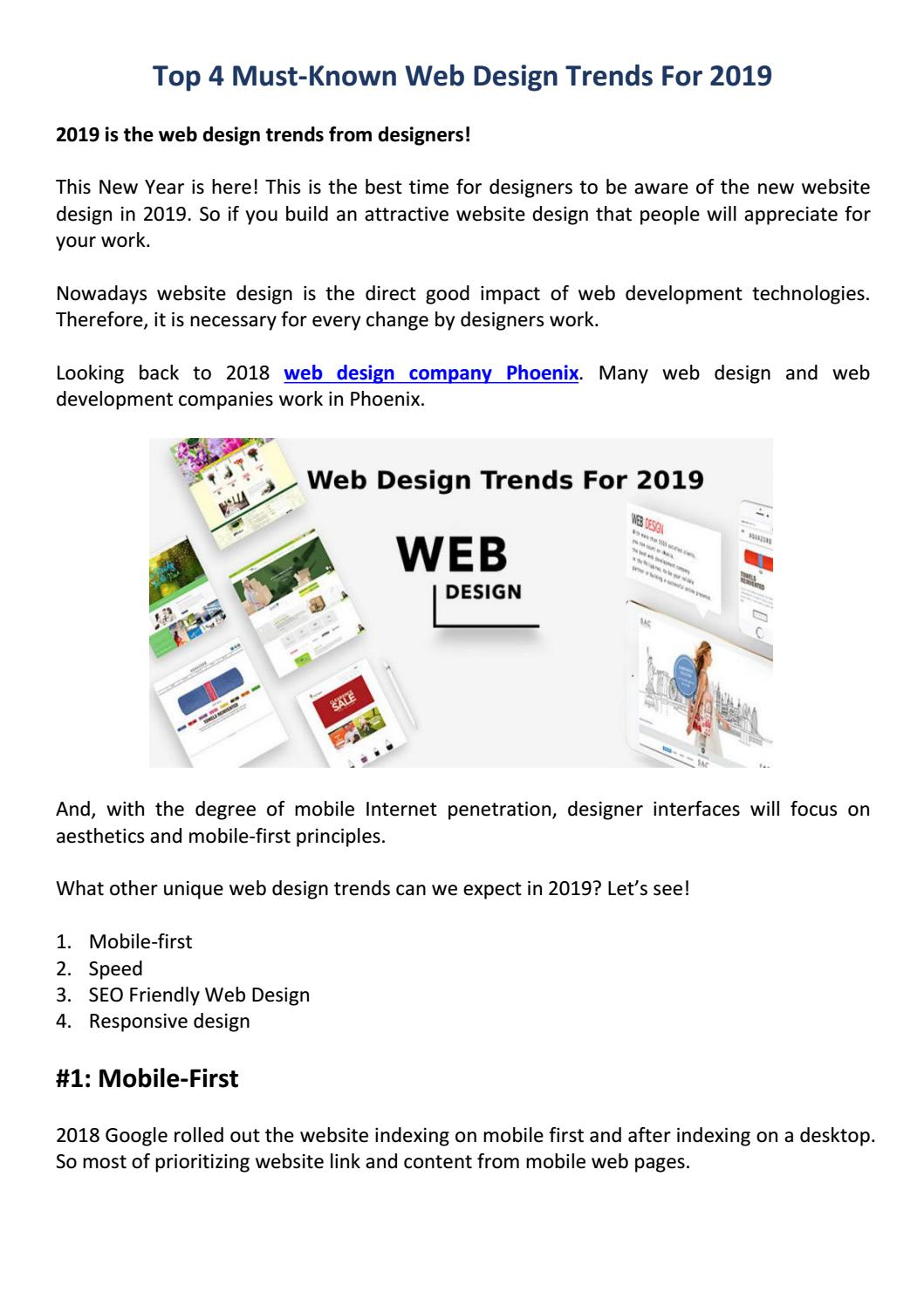 Top 4 Must Known Web Design Trends For 2019 By John Issuu