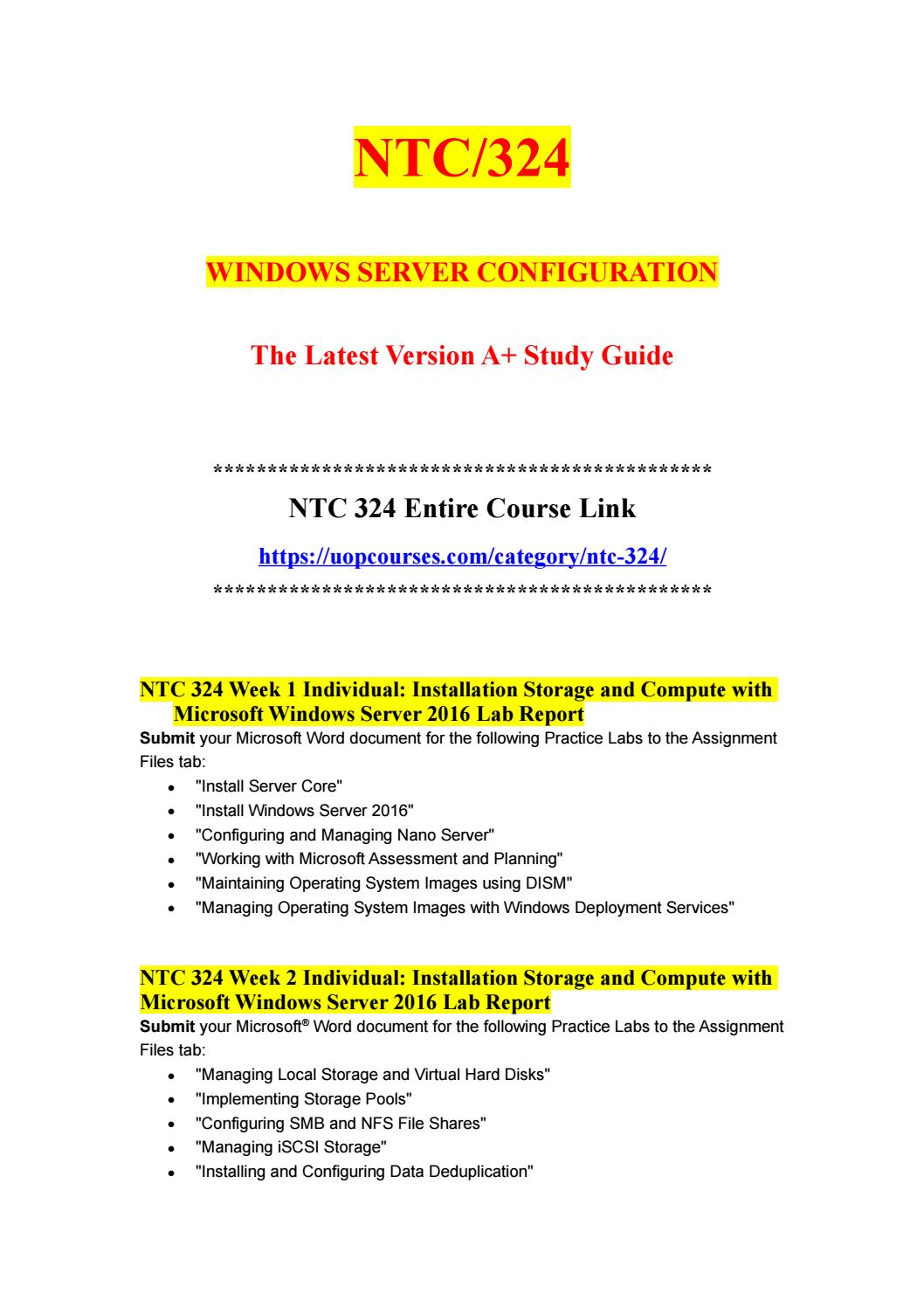 NTC 324 NTC324 NTC324 UOP Entire Course - uopcourses com by