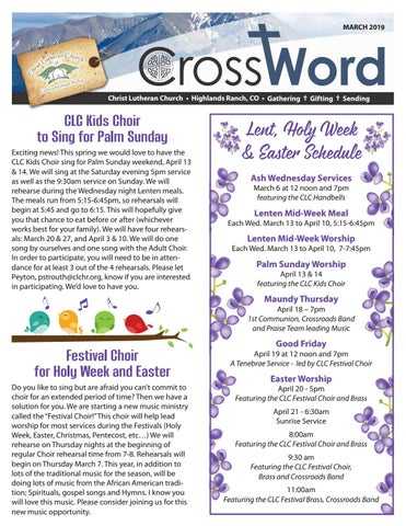CLC March CrossWord by Christ Lutheran Church - issuu