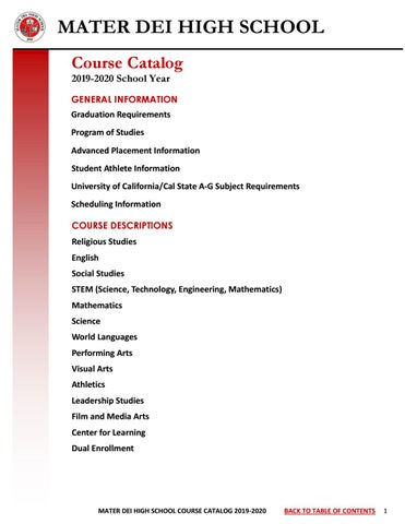 California High School Graduation Requirements 2020.Mdhs Course Catalog 2019 20 By Materdeicounseling Issuu