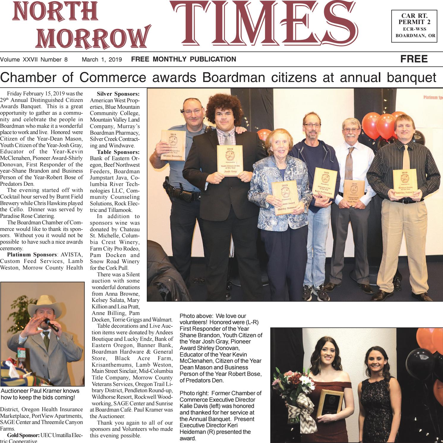 Boardman Calendar February 2019 North Morrow Times March, 2019 edition by North Morrow Times   issuu