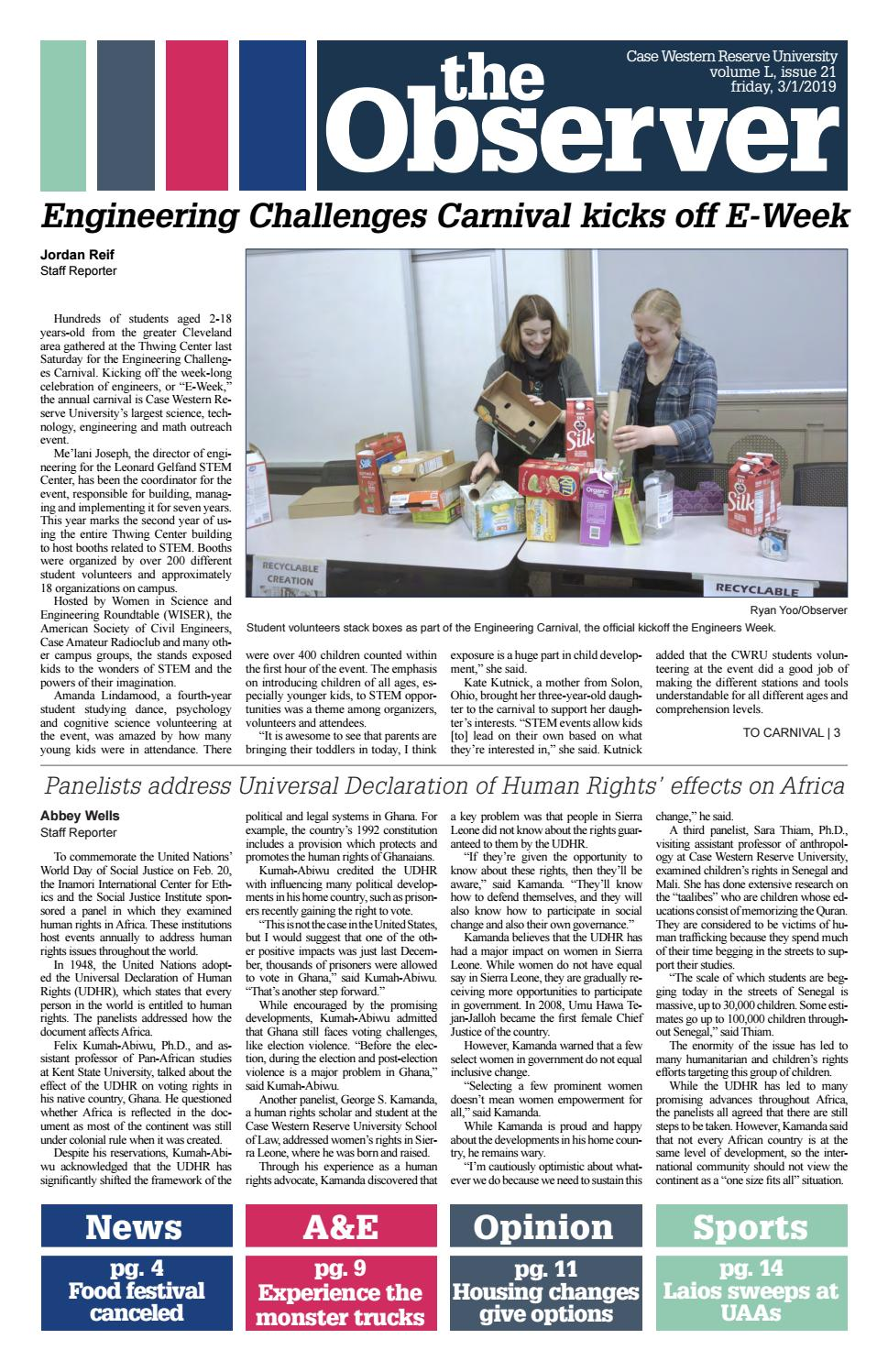 The Observer, Volume L, Issue 21, 3/1/19 by The Observer - issuu