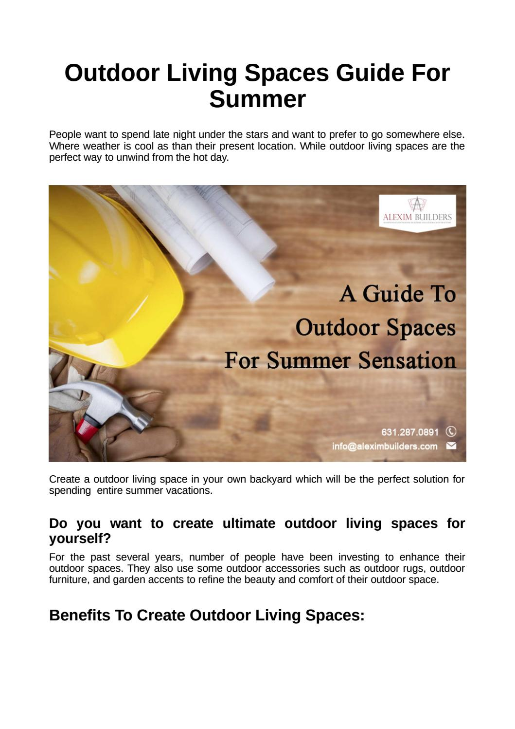 Outdoor Living Spaces Guide For Summer