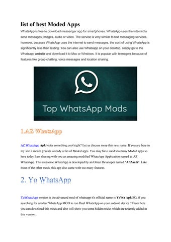 Best WhatsApp Mod Apps for Android by PUBG Mobile Master - issuu
