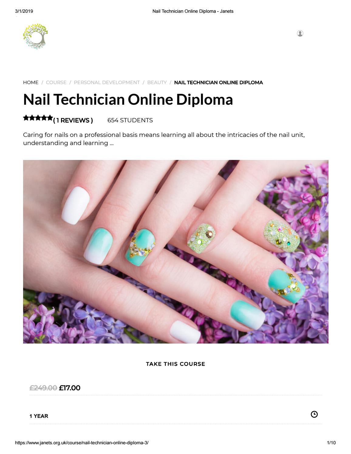 Pdf Of Nail Technician Online Diploma Janets By Shahriar