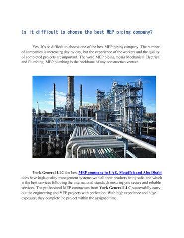 MEP Piping Contractor Musaffah, Abu Dhabi, UAE by York General LLC