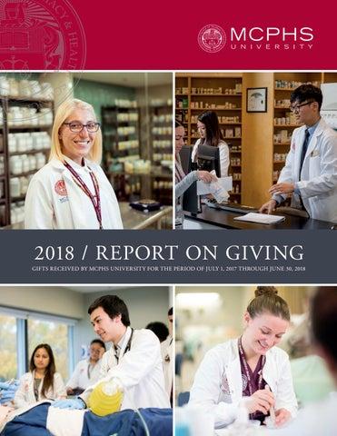Mcphs Pa Program >> 2018 Mcphs University Report On Giving By Massachusetts