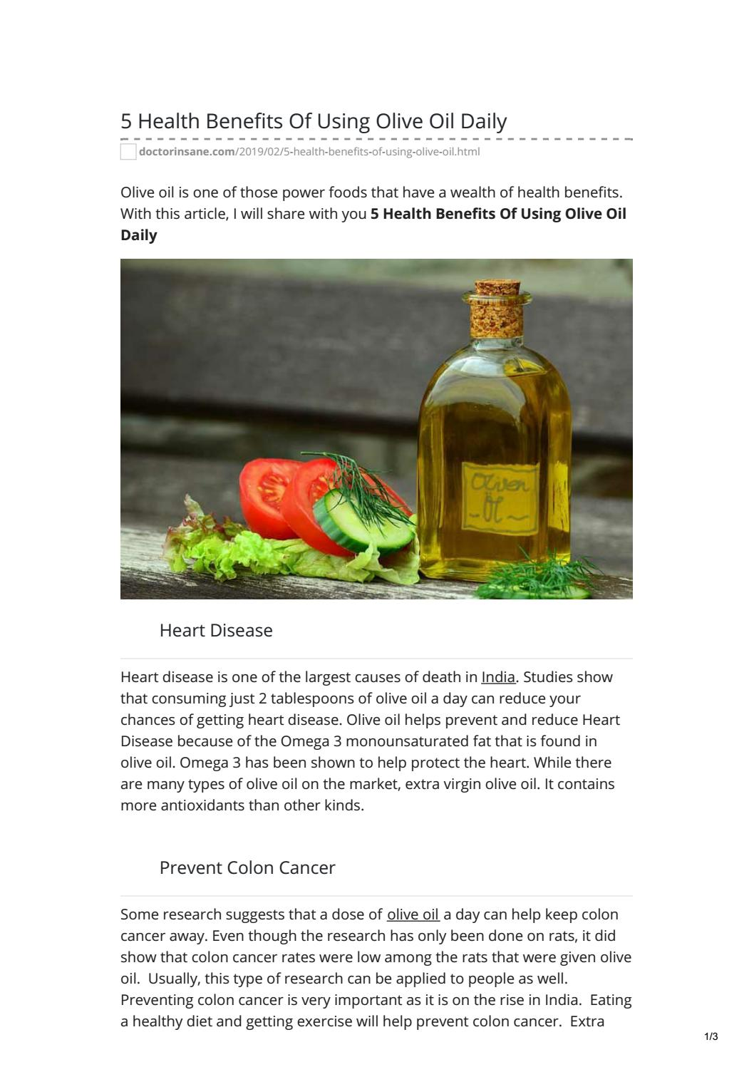 5 Health Benefits Of Using Olive Oil Daily By Dr Mittalkumar Issuu