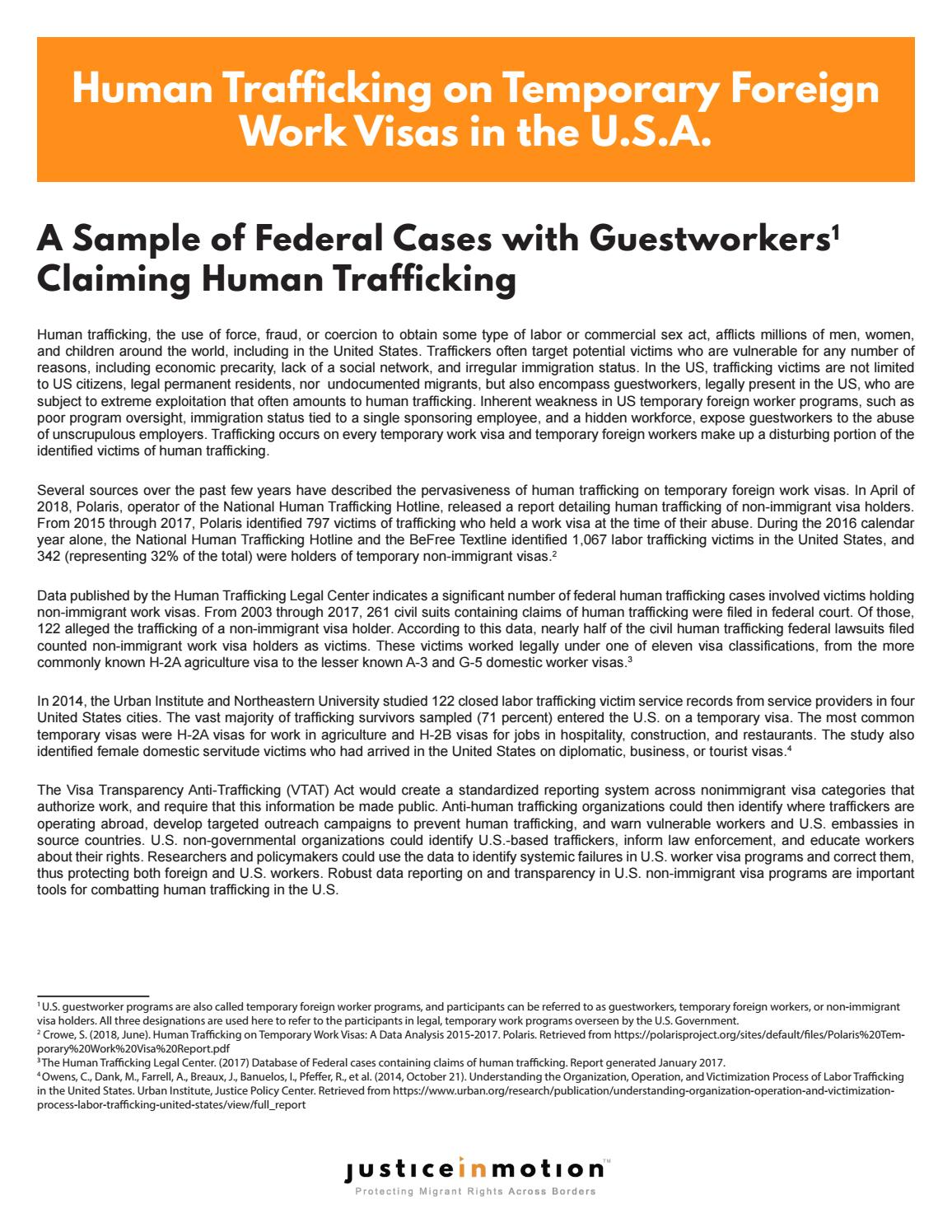 Human Trafficking on Temporary Foreign Work Visas in the