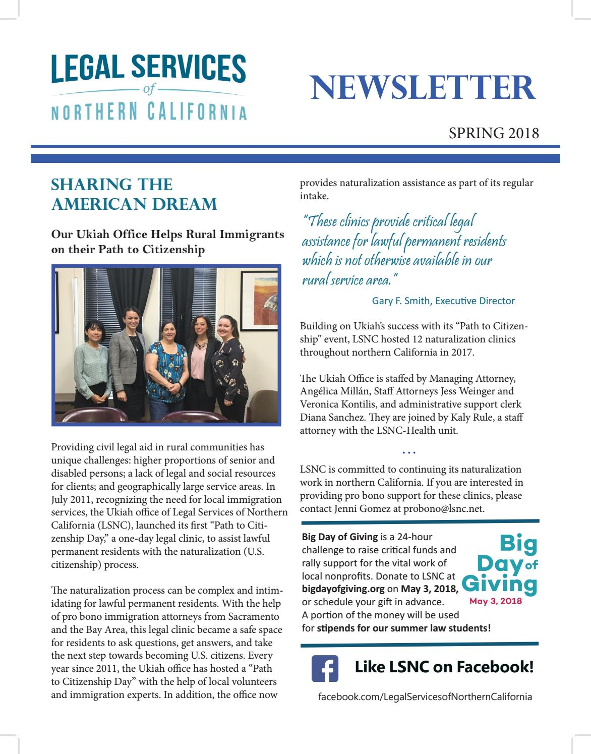 LSNC Newsletter - Spring 2018 by LSNC Development Office - issuu
