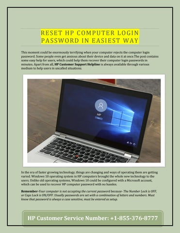 HP Computer Help - Reset HP PC Login Password by Alina Frank - issuu