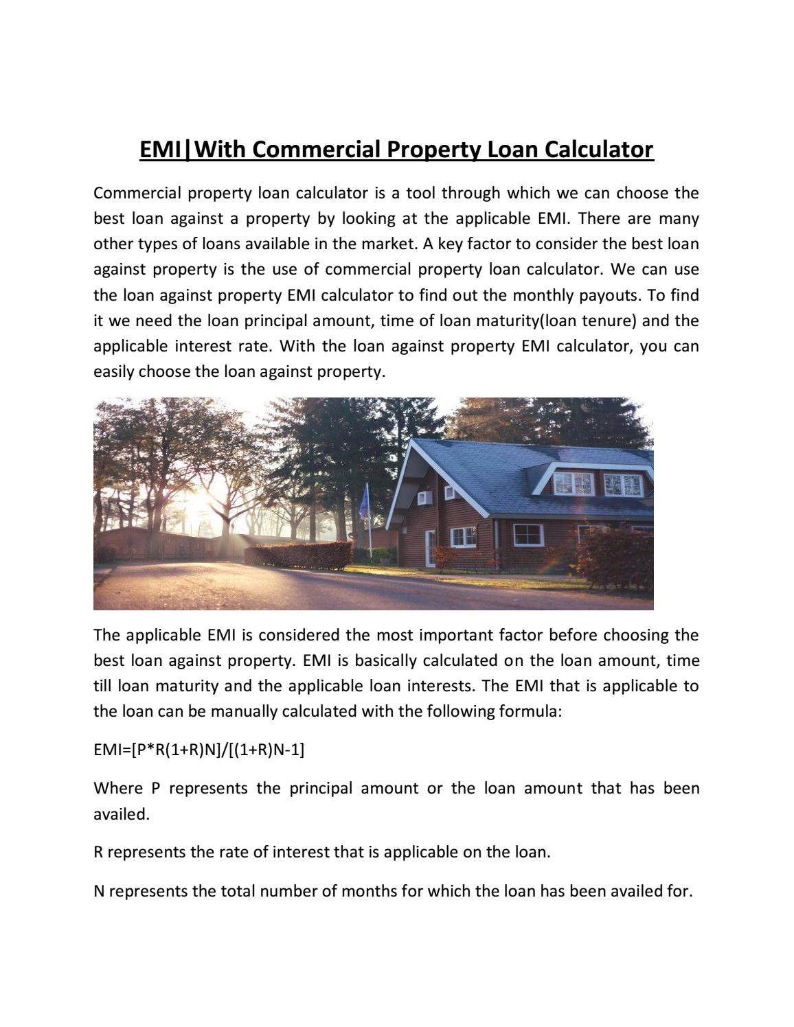 Commercial property loan calculator   emi by.
