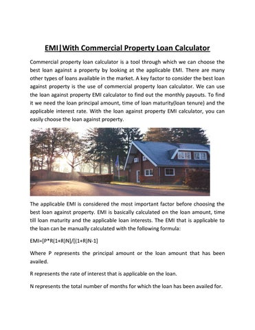 What are the uses of commercial mortgage rates calculator? By.