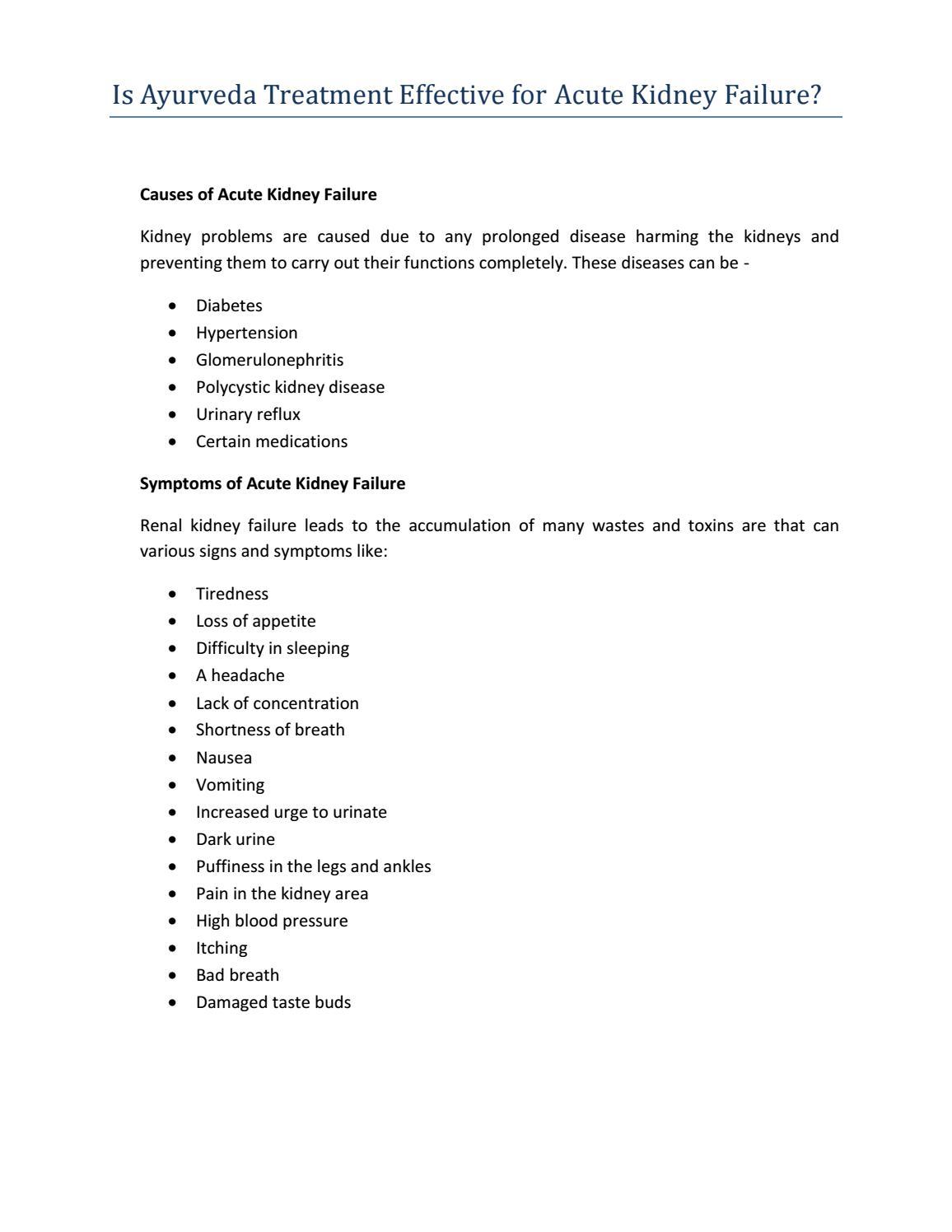 Acute Kidney Disease Treatment In Ayurveda By Jatin Verma Issuu