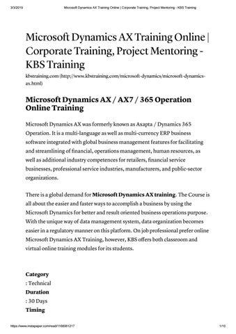 Microsoft Dynamics AX Training   Dynamics AX Training Online - KBS Training