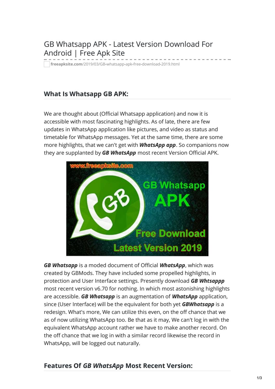 GB Whatsapp APK - Latest Version Download For Android Free Apk Site