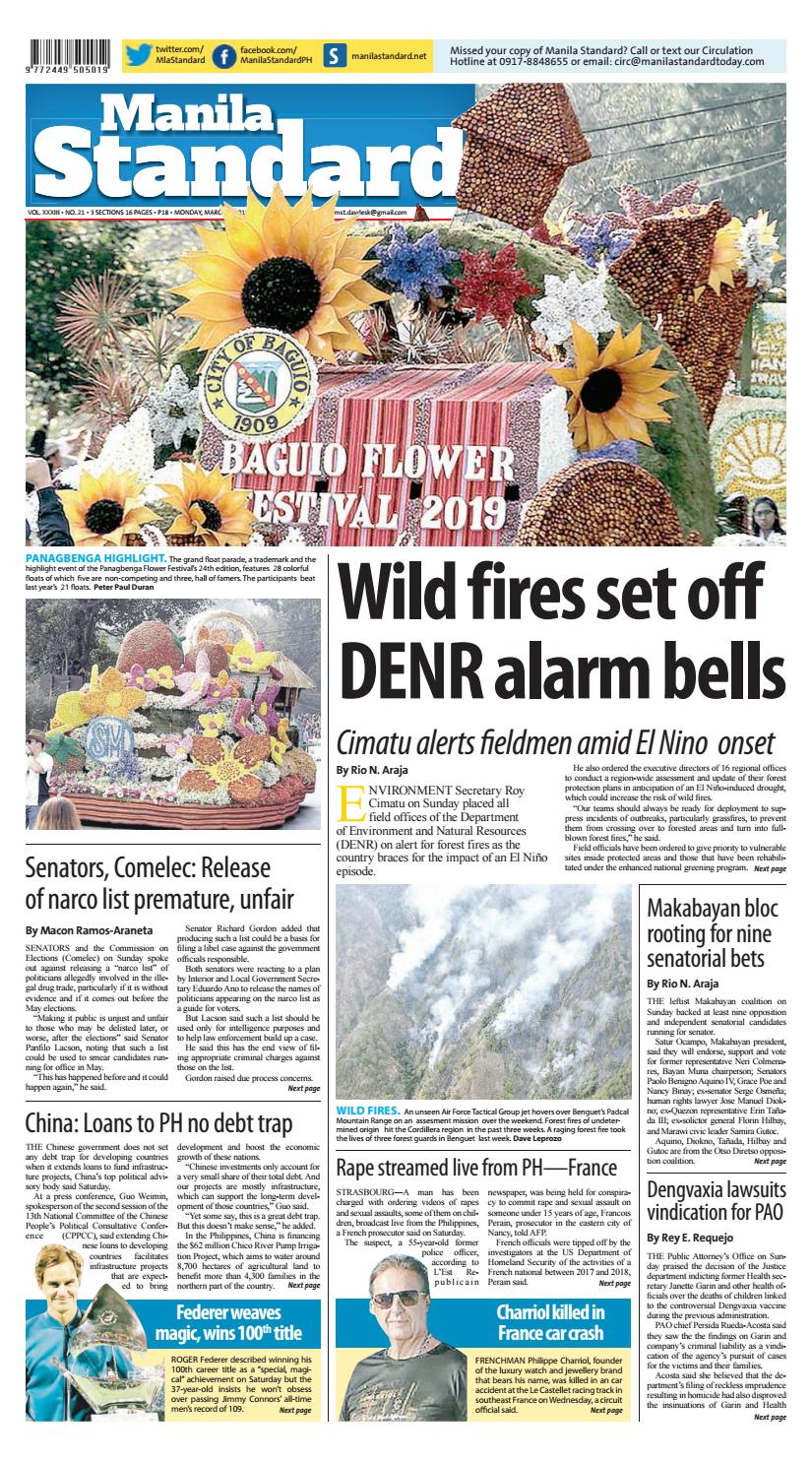 Manila Standard - 2019 March 4 - Monday by Manila Standard
