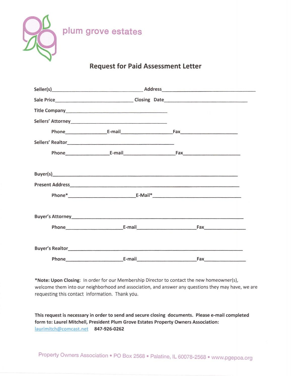 Request for Paid Assessment Letter by PGEPOA Web Admin - issuu