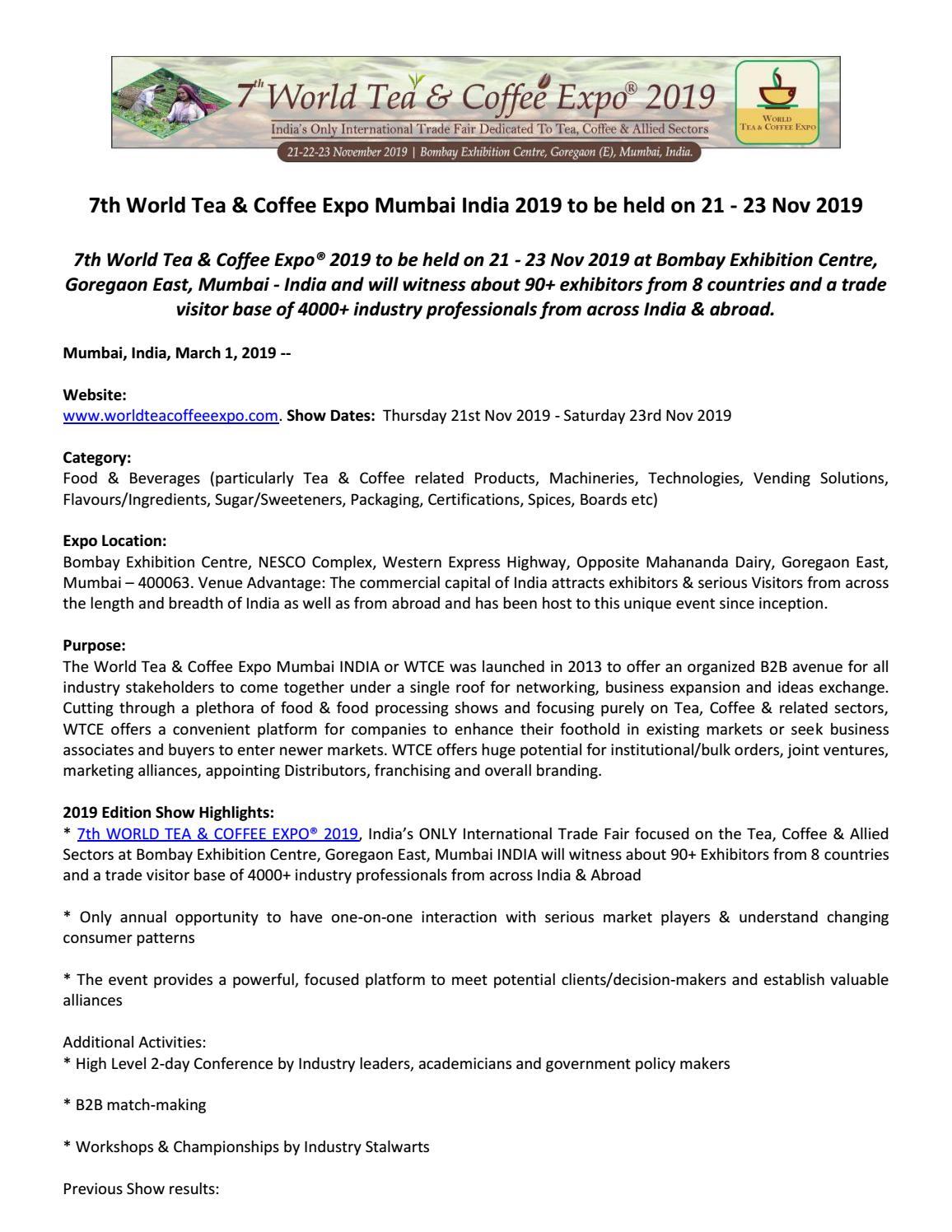 7th World Tea & Coffee Expo Mumbai India 2019 to be held on