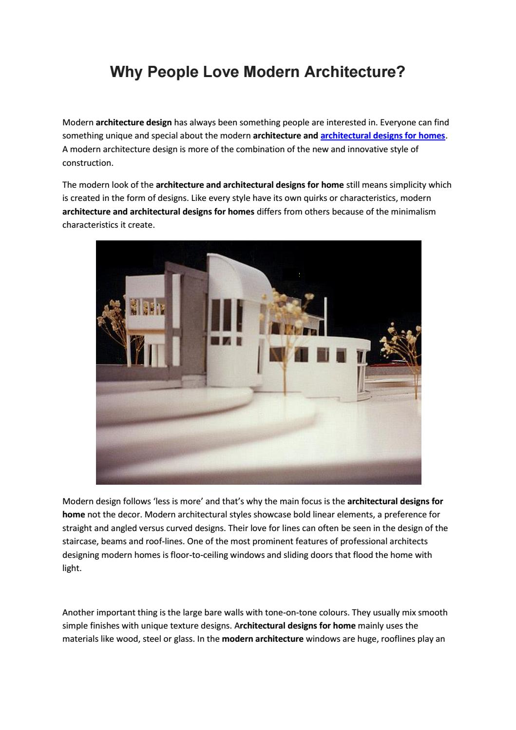 Why People Love Modern Architecture By Archbyjm Issuu