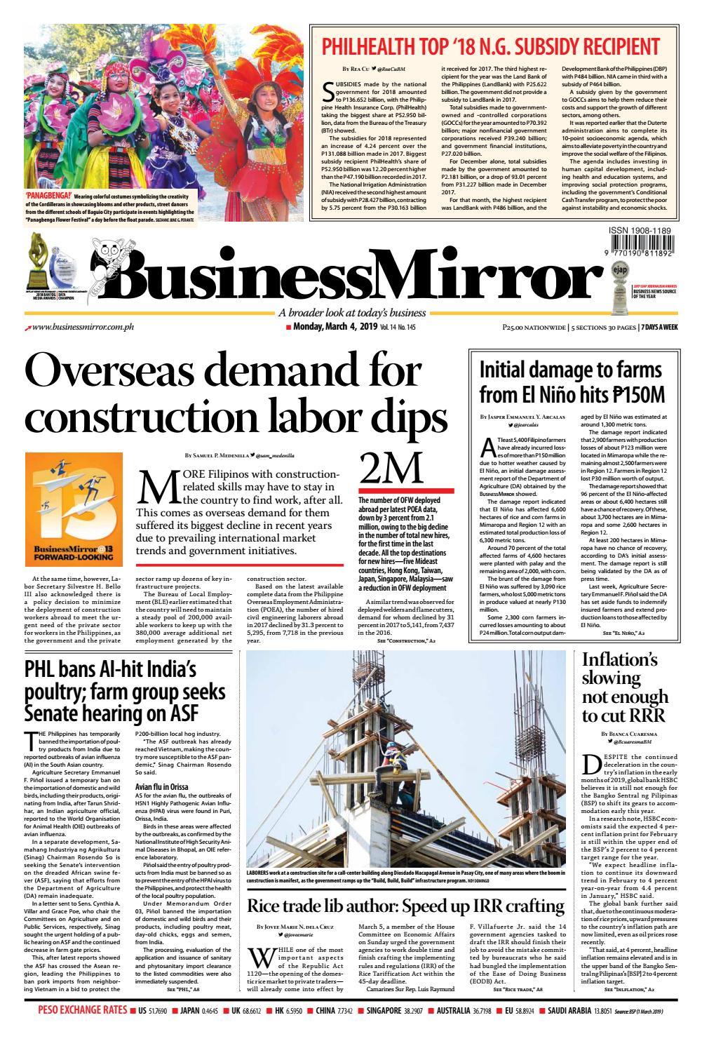 BusinessMirror March 04, 2019 by BusinessMirror - issuu