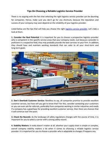 Listed Logistics Companies
