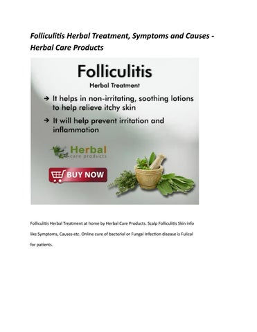 Folliculitis Herbal Treatment, Symptoms and Causes - Herbal Care